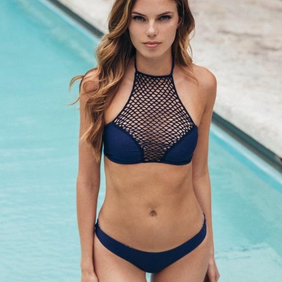 657ecd5d1790a NEW • Acacia • Panama Crochet Bikini Top Blue L